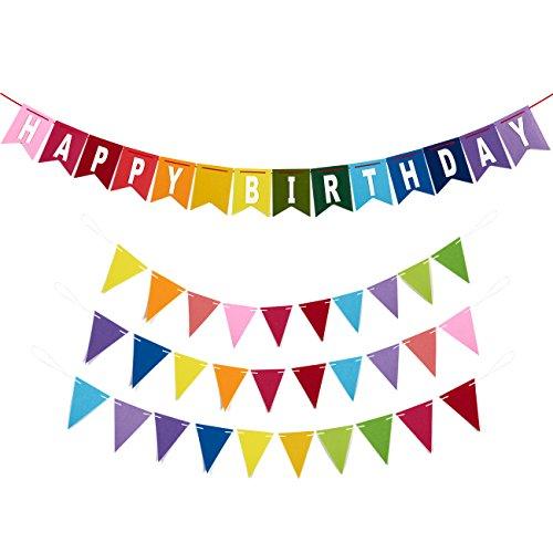Alles Gute zum Geburtstag Banner - 4-teiliges Set - Enthält 1 Filz Geburtstag Banner und 3 Filz Wimpel Banner - Geeignet für Jungen, Mädchen, Erwachsene - Rainbow Geburtstag Dekoration -