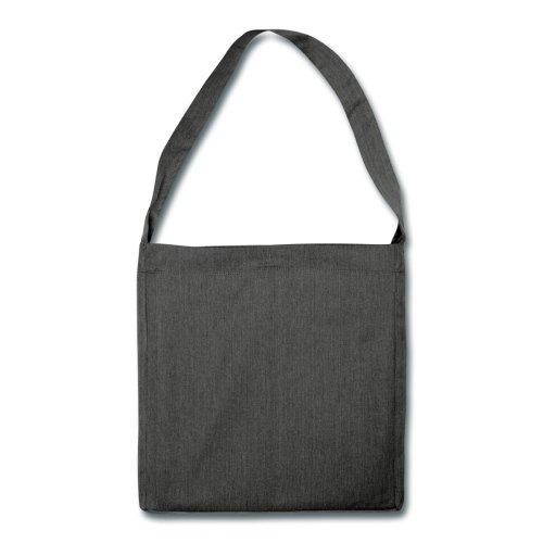 Einhorn Sitzend Schultertasche aus Recycling-Material von Spreadshirt® Schwarz Meliert