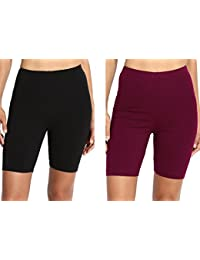 Lili Women's Bio Wash Knee Length Fitness Workout Running Yoga Shorts Pack of 2