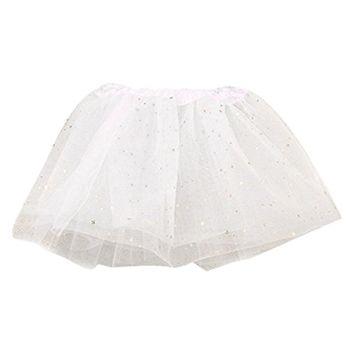 FNKDOR Baby Kinder Mädchen Tüllröcke Petticoat Kurze Tutu Rock Ballet Tütü Unterrock (Weiß)