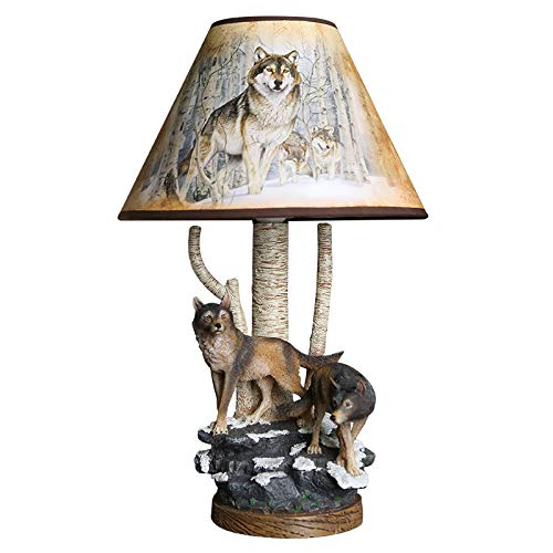 RTNMOT Amerikanisches Land Retro dekorative Tischlampe Wolf Design Tischlampe Berg Stil Ton natürliches Finish, Dimming-Taste -