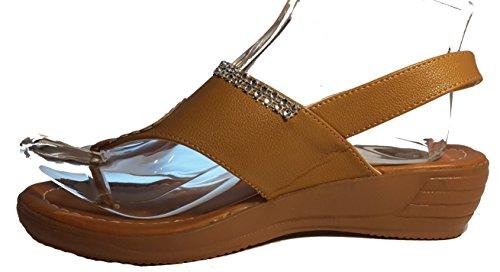 Sexy sandales femmes, tongs flip flop pour l été et les vacances, beige, marron, blanc, bleu, rouge, noir-or, rosé-rouge ou léopard, modèle 11064105006001, différents modèles et tailles. Marron avec des bijoux.