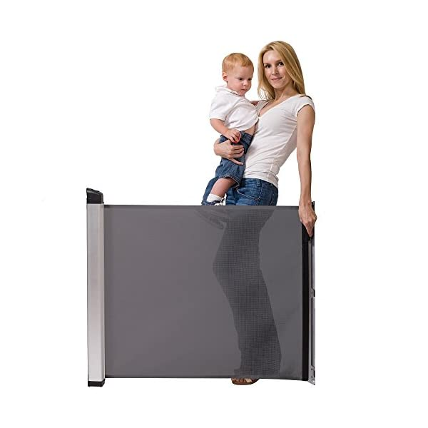 Lascal KiddyGuard Avant Baby Safety Gate Black Lascal Safety Gate discètes on easy to use one handed The curtain can extends to protect any space up to 120cm wide and 80cm height Designed to withstand an impact of 100kg 2