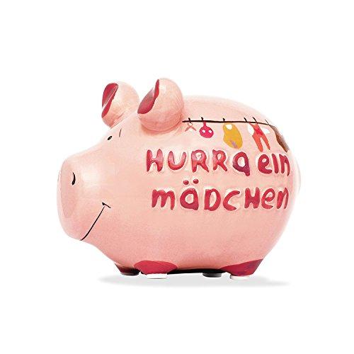 KCG Keramik Sparschwein HURRA EIN MÄDCHEN! / ca. 12.5 cm x 9 cm