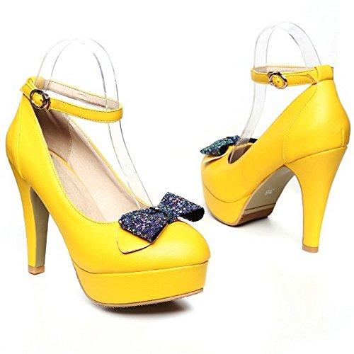 COOLCEPT Damen Mode Knochelriemchen Pumps Blockabsatz Geschlossene Plateau Schuhe Mit Bogen Gr Gelb