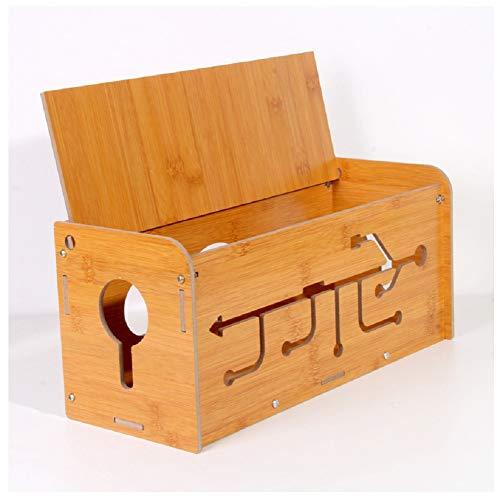 YOSPOSS KZ5327-W976 Caja organizadora de cables de madera, caja de almacenamiento de escritorio, organizador de cables de línea, tubos USB, caja de extensión de gestión de cables, 35 x 14 x 15 cm