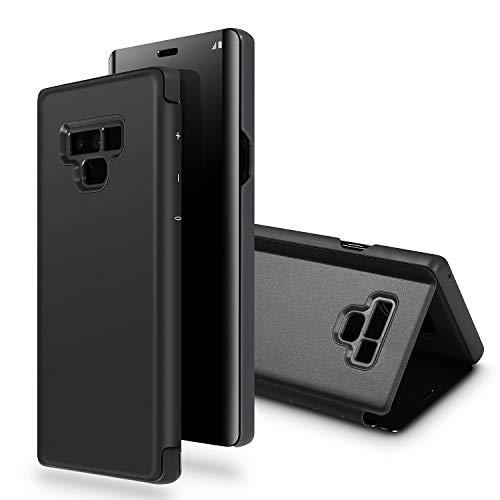 SQMCase Galaxy Note 9 Hüllen, lichtdurchlässiges Ansicht-Fenster-Spiegel-Make-up Galvanisieren-Überzug-Stand-Voller Körper-schützende Schlag-Folio-Abdeckung für Samsung Galaxy Note 9 (Schwarz)