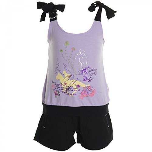 Kinder Mädchen Freizeit Kurzarm Shirt Jogging Hose Outfit 2tl Set Kleidung 20469, Farbe:Lila;Größe:128 (Capri Kinder Set)