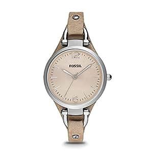 Fossil Damen Analog Quarz Uhr mit Leder Armband ES2830