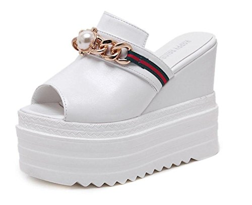 SHINIK Chaussures femme Peep Toe Slope Muffins Bottines épais Plateforme à talons ultra-hauts Chaussures étanches étanches Chaussons Blanc Noir White