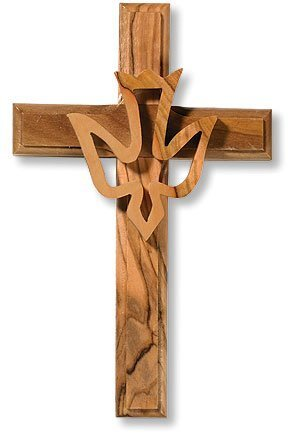 Religiöse Geschenk Olivenholz Kreuz mit Overlay Holy Spirit Trinity Taube Hängende Dekoration Wand von Automatik - Overlay Kreuz