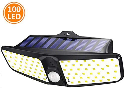 Cocoda Luci Solari Esterno,100 LED Luce Sensore Movimento con 220° Illuminazione Angolo Ampio, IP65 Impermeabile Wireless Lampada da Parete, Facile da Installare Luce Solare LED Esterno per Giardino