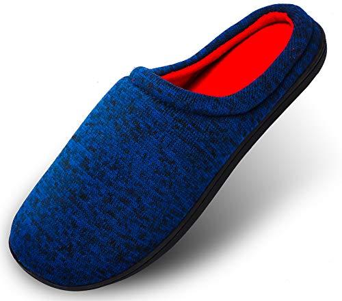 Hausschuhe Herren Pantoffeln Damen Drinnen Aus High Density Memory-Baumwolle Mit Warme Wolle-Wie Plüsch Futter Anti-Skid Gummisohle, Blau01, XL:43/44 EU