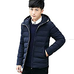 Flashing-winter Thickening Coat Youth Hooded Jacket Cotton - Padded Slim Men 'S Students