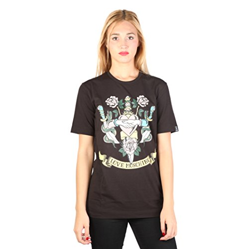Love Moschino Apply On Bag CZ1250223 72, T-Shirt Donna, Nero, 42 (Taglia Produttore:42)