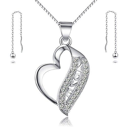 Gilind, parure composta da collana e orecchini da donna in argento sterling 925, motivo a cuore, in confezione regalo, argento, colore: love + heart, cod. gilind