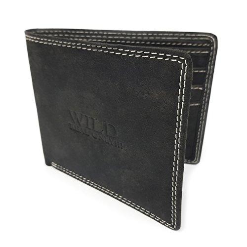 Geldbörse extra dünnes Portemonnaie für Herren Geldbeutel aus 100 % echtem Büffelleder in braun Brieftasche mit 6 Kartenfächern, 2 Geldscheinfächern und 2 unterliegenden Fächern (Geldbörse Herren 100%)