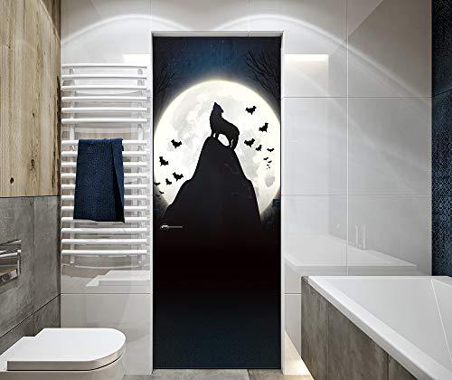 Zkamang Mond Wolf Fledermaus Tür Aufkleber, Halloween Glas Fenster Aufkleber