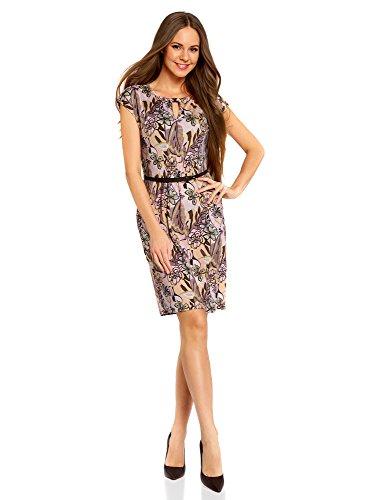 oodji Collection Damen Jersey-Kleid mit Gürtel, Rosa, DE 42 / EU 44 / - Den Für Sommer Lang Kleid