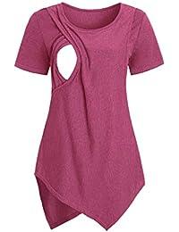 f41722af2 YWLINK Ocio Y Confort Verano Color SóLido Cuello Redondo Mujeres Maternidad  Manga Corta Lactancia Bebé Lactancia Camiseta Embarazadas Tops…