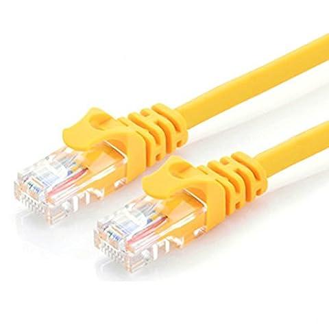 CAT.6 Câble réseau Gigabit LAN Ethernet (RJ45), Câble de raccordement, UTP, compatible CAT.5 / CAT.5e / CAT.7, Switch / Routeur / Modem / Patch panel, Point d'accès, 10/100 / 1000Mbit / s (5m, jaune)