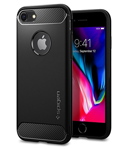 Spigen iPhone 7 Hülle, [Rugged Armor] Karbon Look [Schwarz] Elastisch Stylisch Soft Flex TPU Silikon Handyhülle Schutz vor Stürzen und Stößen Schutzhülle für iPhone 7 Case Cover - Black (042CS20441)