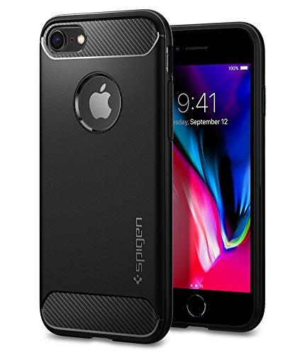 Spigen rugged armor cover iphone 7, cover iphone 8 assorbimento acustico e struttura in fibra di carbonio custodia per apple iphone 7 / iphone 8, nero