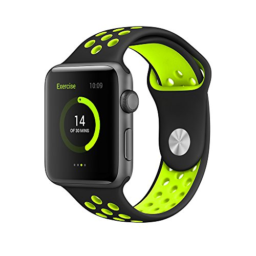 EloBeth For Apple Watch Armband Series 1 Series 2- Sport Smart Watch Silikon Strap Replacement Wrist Band Uhrenarmband Ersatzband Bügel für Apple iWatch/Apple Watch Nike+ (42mm, Schwarz/Gelb)