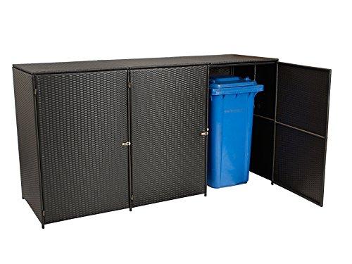 Mülltonnenbox für 2x Tonnen gross bis 240 Liter, 150x78x123cm, Stahl + Polyrattan Geflecht mocca