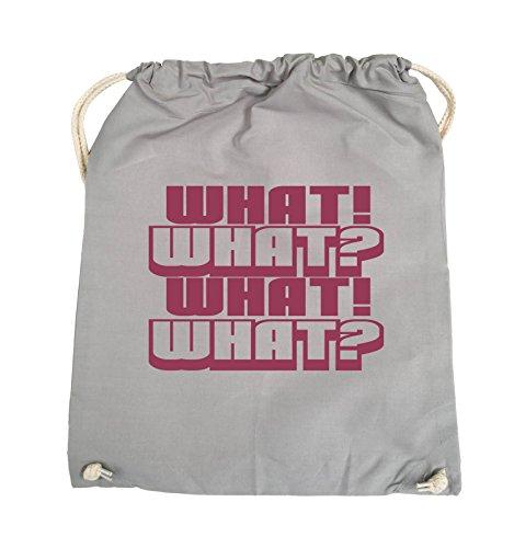 Comedy Bags - WHAT! WHAT! WHAT! WHAT! - Turnbeutel - 37x46cm - Farbe: Schwarz / Silber Hellgrau / Fuchsia