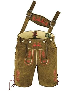 Bayerische Lederhose kurz für Herren Damen aus hochwertiges Veloursleder, mit Träger und Antikstick rot