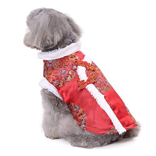 (DJLOOKK Hundebekleidung Chinesischer Stil Haustier Kleidung Winter-Haustier-Kleidung Tang-Baumwollweste Jahr-Kostüm-Hundekatze-Kleidung-Teddybären-Kleidung Jahres,A,M)