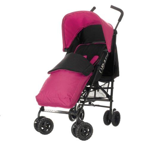 Obaby Atlas Black/Grey Stroller and Pink Footmuff