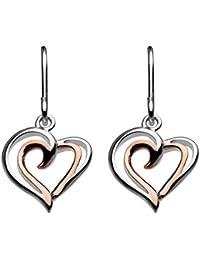 Dew Sterling Silver Puff Heart Drop Earrings