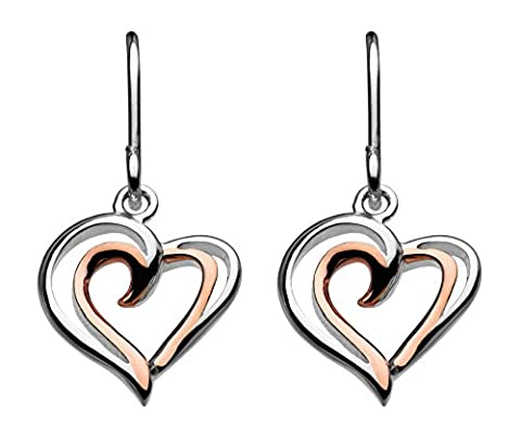 Dew Sterling Silver and Rose Gold Plated Heart Strands Drop Earrings