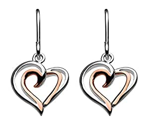 Dew Sterling Silver and Rose Gold Plated Heart Strands Drop Earrings 68028RG
