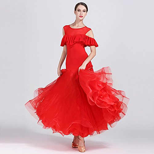Grossen Pendel Kleid Ballroom Dance Dress Kostüm Modern Dance Tanzwettbewerb Leistung Kostüm,Red,S (Rumba Frau Kostüm)