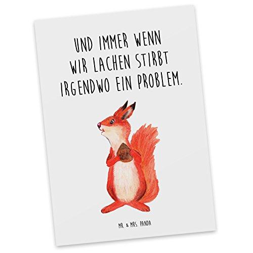 Mr. & Mrs. Panda Postkarte Eichhörnchen mit Nuss - 100% handmade & handbedruckt - Eichhörnchen, Eichhorn, Nuss, Postkarte, Postkarten, Einladungskarte, Geschenkkarte, Brief, Kärtchen, Geschenk, Karte, Papier, Einladung Eichhörnchen, Eichhorn, Nuss,