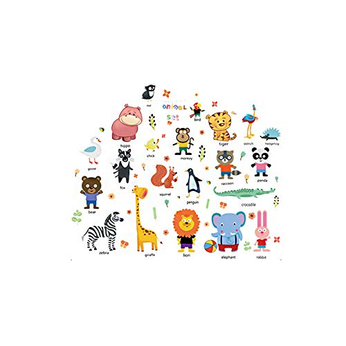 iHOMIKI Kids Wild Animal-Wand-Aufkleber Dschungel-Thema Peel-Stock DIY-Wand-Kunst-Tapete für Kindergarten Kinder Baby-Schlafzimmer 1PC (Baby Dschungel-thema Zimmer)