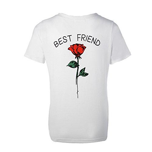 52df4343ab8b5f Shujin 1 Stücke Damen Mädchen Sommer Süß Partnerlook T-Shirt mit Rose  Aufdrucken Best Friends Kurzarmshirt Freund Shirt Oberteile Tops