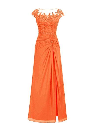 Dresstells, robe de soirée mousseline, robe de cérémonie, robe longueur ras du sol de demoiselle d'honneur Orange