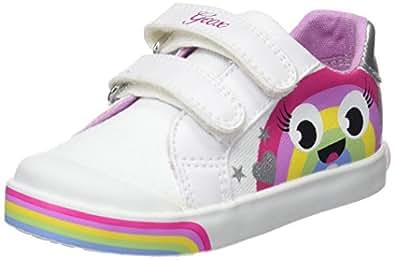 Geox Baby Mädchen B Kilwi Girl C Sneaker, Weiß (White/Multicolor), 23 EU