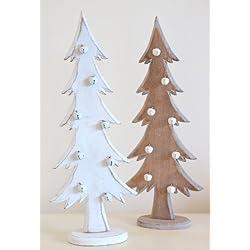 Árboles de Navidad de madera de árbol de Navidad decoraciones–diseño Shabby estilo envejecido en color blanco y natural madera con pequeñas Bell de Navidad. Se vende como un par.
