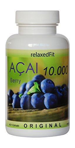 Acai Beere 10000mg - optimal dosiert 40:1 Konzentrat - Fitnessprodukt - Muskelaufbau & Diätunterstützung - Made in Germany (3-Monatspackung (180 Kapseln))