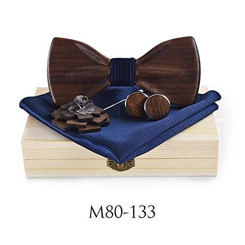 ZHENZHIA Hölzern Fliege Mode Klassische Bowtie 3D handgemachte Brosche Schmetterling Rote Paisley Bowties