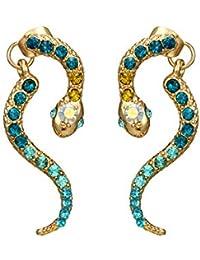 iHOMIKI Pendientes de la Vendimia Pendientes de Las Mujeres de Cristal Pendientes de la Serpiente Animal de la aleación Pendientes de Moda para Las Mujeres