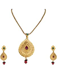 DS Gold Plated Party Wear Traditional Ethnic Necklace Set With Earrings For Women And Girls