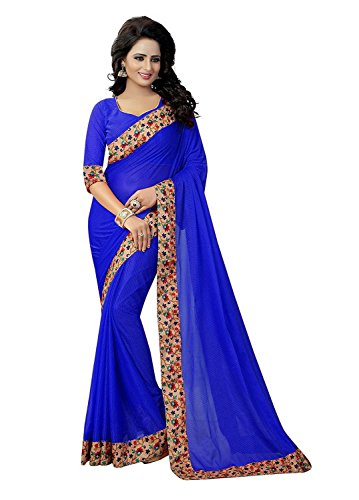 Fashion and Hub Net Saree With Blouse Piece (New Collection Saree l2_Blue_Free...