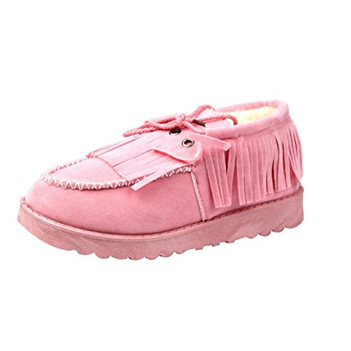 Chaussures Mode Tassel Rose De Ankle Femmes Flat Neige Paresseux 5xwFqA