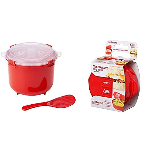 41tAdB8OIbL. SS500  - Sistema Microwave Rice Cooker, 2.6 L - Red/Clear & Microwave Egg Cooker Easy Eggs, 270 ml - Red